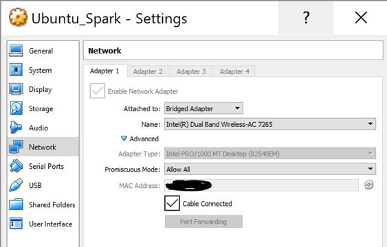 VirtualBox Apache Spark